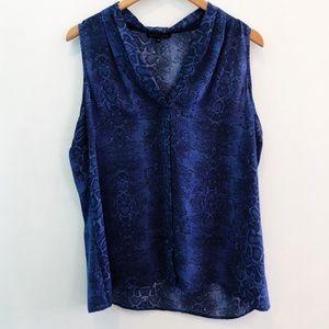 Violet & Claire | Blue Snakeskin Top, XL